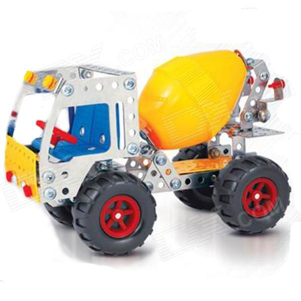 Iron Commander SM146705 Metal Assembled Toy Cement Truck - Silver + Yellow + Red + Blue