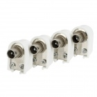 Soldering Free Cable Television Antenna Plug Adapters - White + Silver (4 PCS)