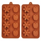 4-Plum Flowers + 4-Tulips Style Cake / Chocolate / Biscuit Moulds - Brown (2 PCS)