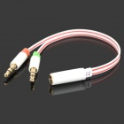 Two 3.5mm Male to 3.5mm Female Audio Cable for Computers - White + Red + Black