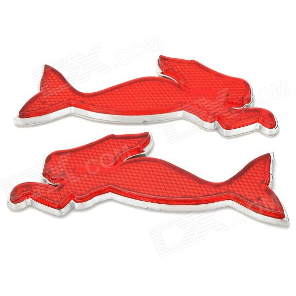 Mermaid Style Car Reflective Decoration Sticker - Red + Silver (2 PCS) d12072808x reflective sticker for 16 18 car tire golden 2 pcs