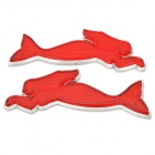 Mermaid Style Car Reflective Decoration Sticker - Red + Silver (2 PCS)