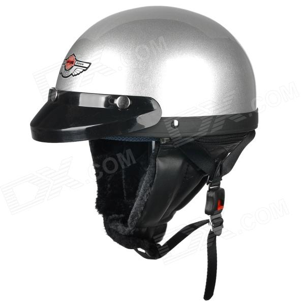 FR 03 Motorcycle Comfortable ABS Helmet w/ Goggles - Silver Grey (Size L)
