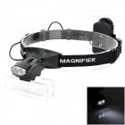 ZnDiy-BRY 9892C Headband Lighting Magnifier w/ 2-LED + 5-Lens - Black
