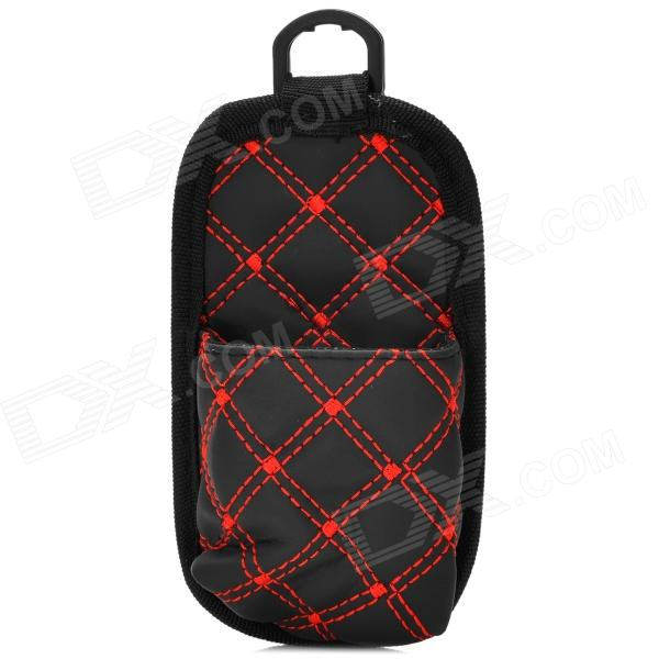 RunDong Car PU Leather Debris Phone Bag for Car - Black + Red