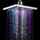 8 inch ABS RGB Colors Changing LED Square Top Showerhead - Silver