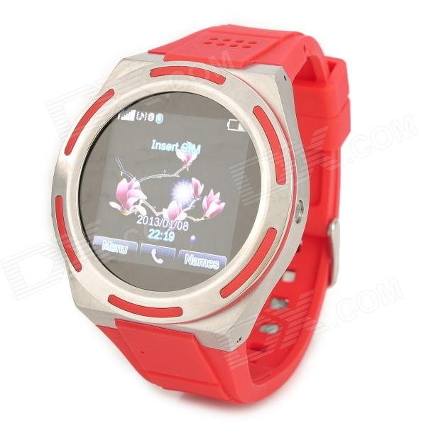 KICCY A8 Water Resistant Bluetooth Smart Watch Phone w/ 1.54, FM for Android and iOS - Red pocket monster embossing hybrid acrylic tpu shell for iphone 6s 6 pikachu