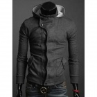Men's Casual Cotton Hoodie Coat - Dark Grey (Size L)