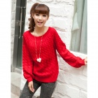 Fashion Women's Wool Yarn Round Neck Sweater - Red