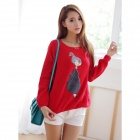 Lovely Girl-Muster-Frauen Wolle Round-Neck Sweater - Red