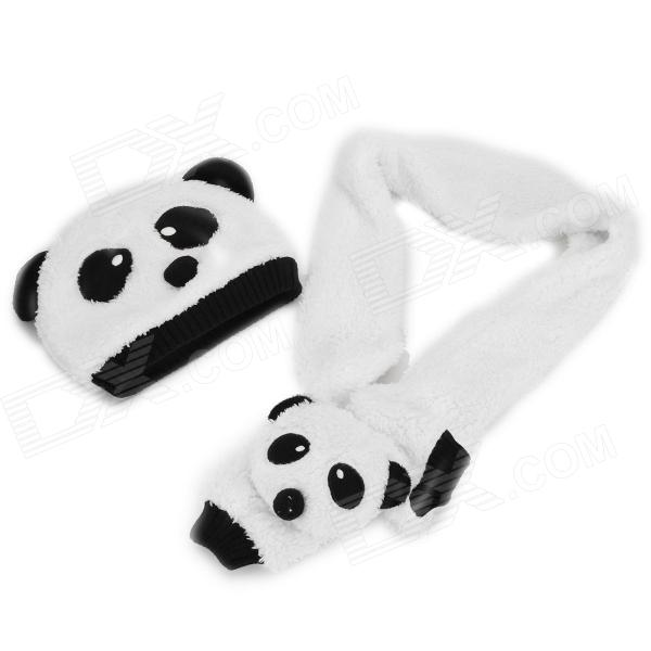 Panda Style Kid's Warm Hat + Scarf Set - Black + White autumn winter children plus velvet hat scarf set baby lovely cartoon fox print knitted hat kids cap collar boy girl neck warmer