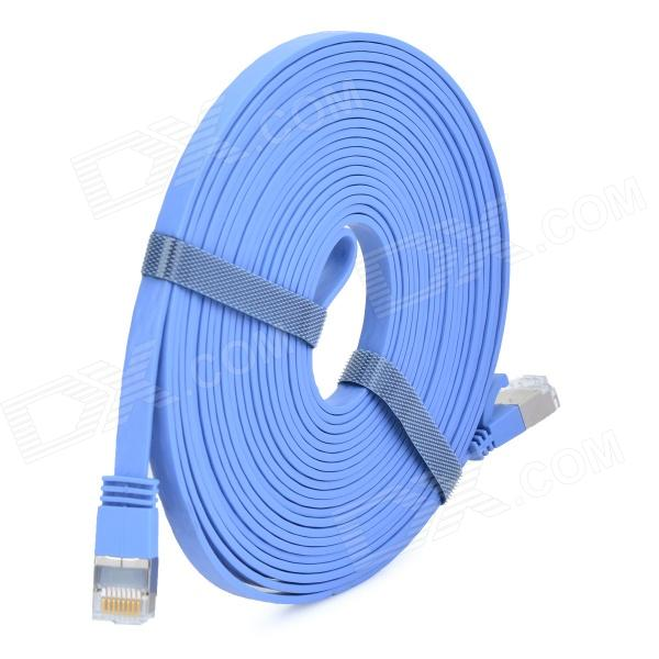 Ultra-Slim CAT-7 10Gbps RJ45 Male to Male Networking Flat Cable - Light Blue (5m) rj45 8p8c male to male high speed cat6a flat lan network cable purple 1485cm