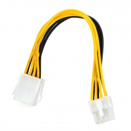 8-Pin Male to Female Computer Power Extension Cable - White + Yellow + Black (20cm)