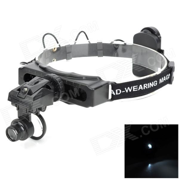 ZnDiy-BRY 9892D Headband LED Lighting Magnifier w/ 3-Lens - Black professional 3 5x magnifier 280 380mm working distance dentist dental surgical medical headband binocular loupes optical glasses
