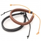 Fashionable Cool Punk Style Cow Split Leather Bracelets - Brown + Black (2 PCS)