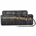 B32D-32 32-in-1 Professional Make-up / Cosmetic Fiber Hair + Wool Hair Brushes - Black + Golden