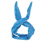 Cute Red Dot Bowknot Hair Band Scarf - Blue