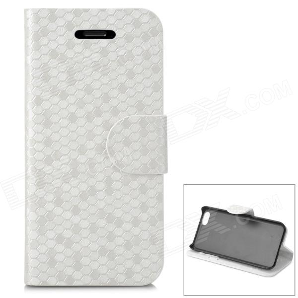 Snakeskin Pattern Protective Case w/ Stand / Card Slots for Iphone 5C - Silver