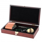 RENREN RR1201 Classic Old School Shaving Razor + Badger Hair Brush + PU Leather Strap Set