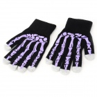Skeleton Finger Pattern Capacitive Screen Touch Touching Hand Warmer Gloves - Black + Purple (Pair)