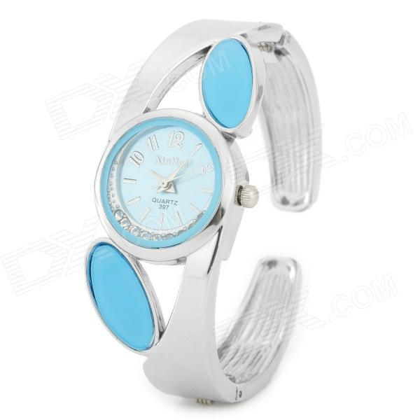 Fashion Stainless Steel Quartz Analog Wrist Watch for Women - Silver + Blue (1 x LR626) fashion stainless steel quartz analog wrist watch for women silver blue 1 x lr626