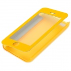 Protective PU Leather + Plastic Case w/ Display Window for Iphone 5C - Yellow