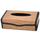 Alligator Pattern Folding Desktop Car / Home Tissue Box - Khaki + Black