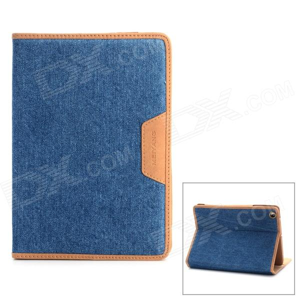Protective Flip Open PU Leather Case w/ Card Slots / Stand for Ipad MINI - Blue solid color litchi pattern wallet style front buckle flip pu leather case with card slots for doogee x10