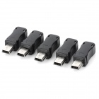Mini USB 5 Pin Male Plug Socket Connectors - Black + Silver (5 PCS)