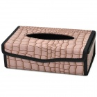 Car Folding PU Leather Square Tissue Box - Brown + Black