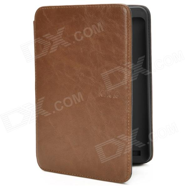 Protective PU Leather Flip Case w/ LED for Amazon Kindle Touch - Brown protective pu leather case cover w led reading light for amazon kindle touch black