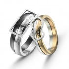 eQute COO18C2S69 Fashionable Titanium Steel Couple Rings - Black + Golden + Silver (Women 6 / Men 9)