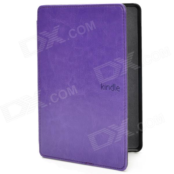 Protective PU Leather Flip Case for Amazon Kindle Paperwhite - Purple pu leather ebook case for kindle paperwhite paper white 1 2 3 2015 ultra slim hard shell flip cover crazy horse lines wake sleep