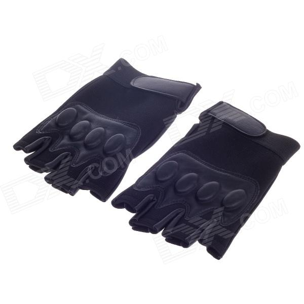 Stylish Tactical Protective Half Finger Gloves - Black (Free Size / Pair)