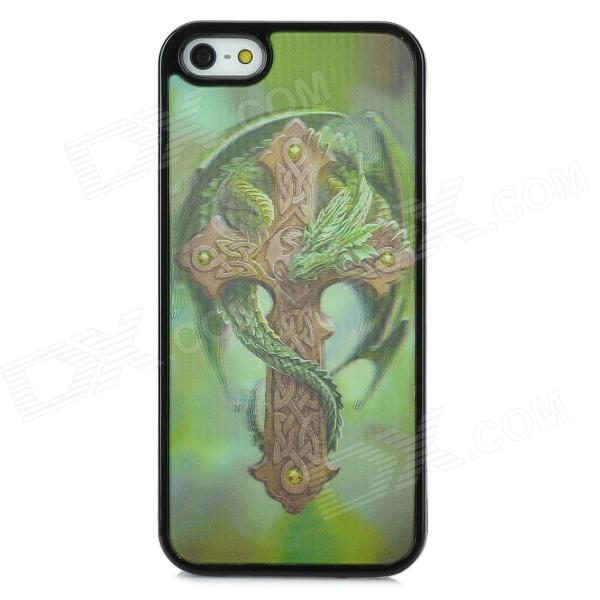 где купить 3D Dragon Cross Style Protective Back Case for Iphone 5S - Green дешево