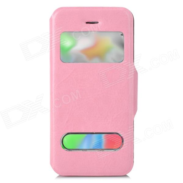 Protective PU Leather Case w/ Dual Display Windows for Iphone 5C - Pink stylish protective case w display window for iphone 5c blue