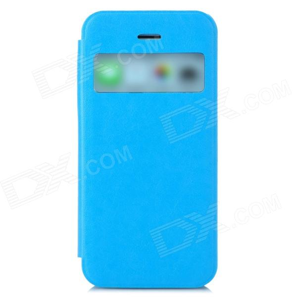 Protective PU Leather + ABS Case w/ Display Window for Iphone 5C - Light Blue protective pu leather plastic case w display window for iphone 4 4s maroon