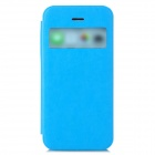Protective PU Leather + ABS Case w/ Display Window for iPhone 5c - Light Blue