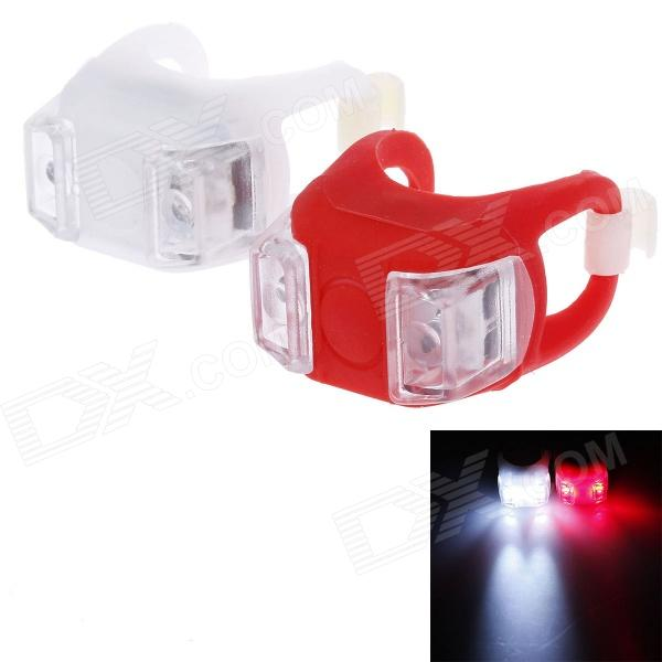 Lichao LC-7002 20lm 3-Mode 2-LED Bike Safety Frog Lamp - White + Red (2 x CR2032) mini 2 mode white light camping lantern with carabiner clip 2 cr2032 color assorted