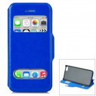 Protective PU Leather Case w/ Dual Display Windows for iPhone 5c - Dark Blue