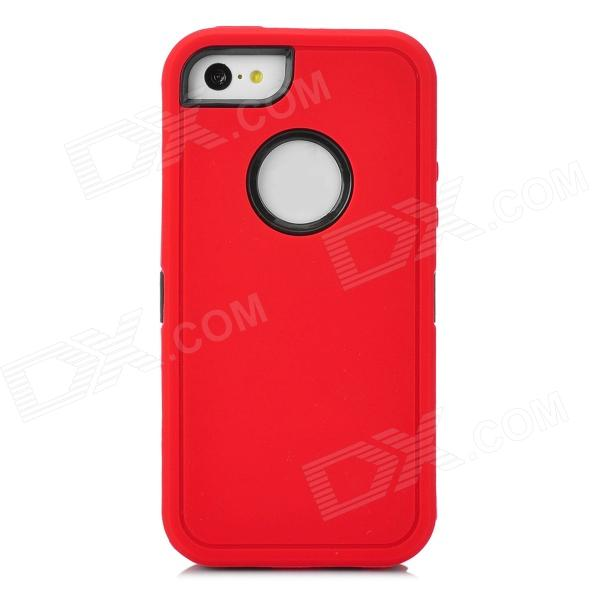 Protective Plastic + TPU Back Case for Iphone 5C - Red + Black glitter powder imd tpu back case for iphone 7 black butterfly