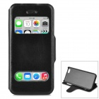 Protective PU Leather Case w/ Dual Display Windows for Iphone 5C - Black