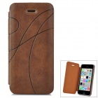 Protective Printing Flip Open PU Leather Case for Iphone 5C -Brown