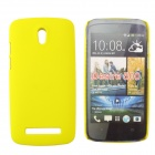Fashionable Super Thin Protective Glaze PC Back Case for HTC Desire 500 - Yellow