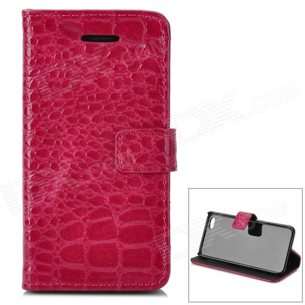 Alligator Pattern Protective Flip Open Case w/ Stand / Card Slots for Iphone 5C - Deep Pink stylish pattern protective flip open pu leather case w stand card slots for iphone 6 4 7 white