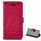 Alligator Muster Schutz Flip Open Case w / Stand / Card Slots für Iphone 5C - Deep Pink