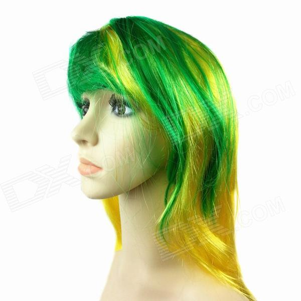 Cool Nylon Fans Wig for Brazilian World Cup - Yellow + Green