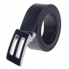 Rich Age Fashionable Men's Cow Split Leather Belt w/ Zinc Alloy Buckle - Black + Silver