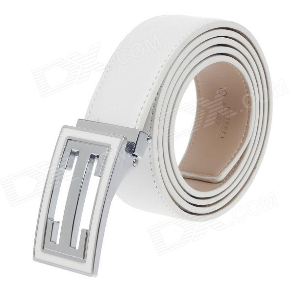 Rich Age Fashionable Men's Cow Split Leather Belt - White + Silver + Khaki pouchkan stylish cow leather men s belt with zinc alloy buckle black