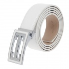 Rich Age Fashionable Men's Cow Split Leather Belt - White + Silver + Khaki